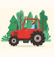 man driving tractor farm agriculture vehicle vector image