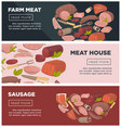 meat and sausages from farm promotional internet vector image vector image