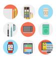 nine color flat icon set - designer tools vector image