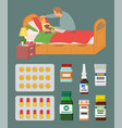 parent staying sick child laying in bed vector image
