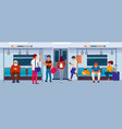 people sitting and standing inside a subway train vector image vector image