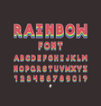 rainbow bold font alphabet vector image