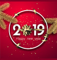 red 2019 happy new year card with golden bow and vector image vector image