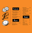 restaurant menu template with food sketches vector image vector image