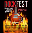 rock festival design template with rock guitar and vector image vector image