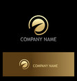 round loop arrow gold company logo vector image