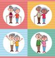 set of grandarents couples cartoons vector image vector image