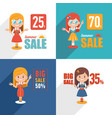 set of sale banners with character cute girl vector image vector image