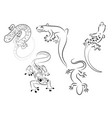 Set stylized lizard a collection decorative