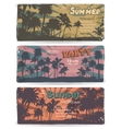 set vintage summer banners with palm trees vector image vector image