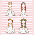 set women wedding with gown and hairstyle vector image