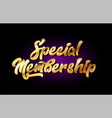 special membership 3d gold golden text metal logo vector image vector image