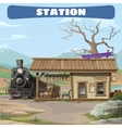 station and train 19th century in wild west vector image vector image