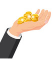 the hand that holds the gold coins gift cartoon vector image vector image