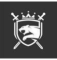 tiger head with two crossed swords shield logo vector image vector image