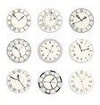 vintage clock dials isolated icons new year vector image