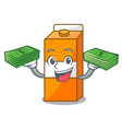 with money bag package juice mascot cartoon vector image