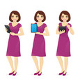 woman in dress with tablet vector image vector image