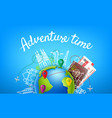 world travel color with calligraphic logo vector image vector image