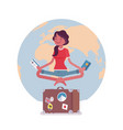 young woman waiting for vacation vector image