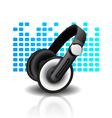 headphones - blue background vector image