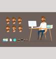 character design businessman working on desktop vector image