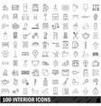 100 interior icons set outline style vector image vector image