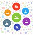 7 peak icons vector image vector image
