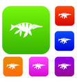 aquatic dinosaur set color collection vector image vector image