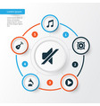 audio icons set collection of phonograph vector image vector image