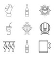 beach party icons set outline style vector image vector image