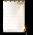 beige page of notepad and pen vector image vector image