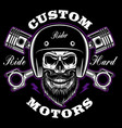 biker skull with beard and crossed pistons vector image vector image