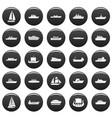 boat icons set vetor black vector image vector image