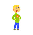 boy in knitted sweater with letter a in heart vector image vector image