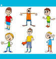 boys children characters cartoon set vector image vector image