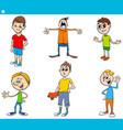 boys children characters cartoon set vector image