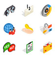 business solution icons set isometric style vector image