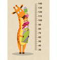 Cartoon giraffe with gifts on a beige background