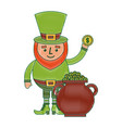 cartoon leprechaun holding gold coin and pot money vector image