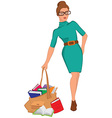 Cartoon young woman holding big bag full of books vector image vector image
