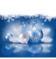 christmas background with baubles in blue vector image vector image