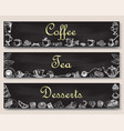 coffee tea and desserts banner template vector image