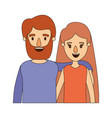 color image caricature half body couple woman with vector image vector image