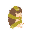 cute colorful hedgehog wrapping in warm cozy scarf vector image vector image