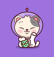 cute japanese lucky cat is wearing astronaut suit