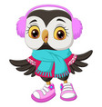 cute owl cartoon wearing a scarf and headphones vector image vector image