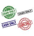 damaged textured cash only stamp seals vector image