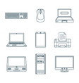 dark outline computer gadgets icons vector image vector image