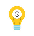 dollar sign and light bulb idea and investment of vector image